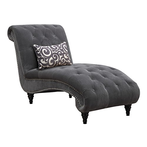 Emerald Home Hutton II Thunder Bella Gray Chaise, with Pillows, Button Tufting, Nailhead Trim, And Turned Legs