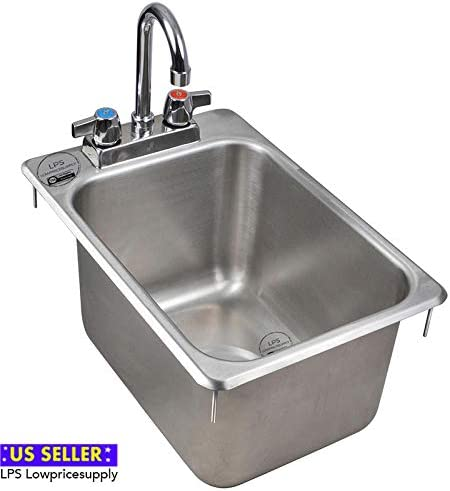 10 x 14 x 5 10 x 14 x 10 Stainless Steel 16-Gauge One Compartment Drop-In Sink with 8 Faucet by LPS Lowpricesupply