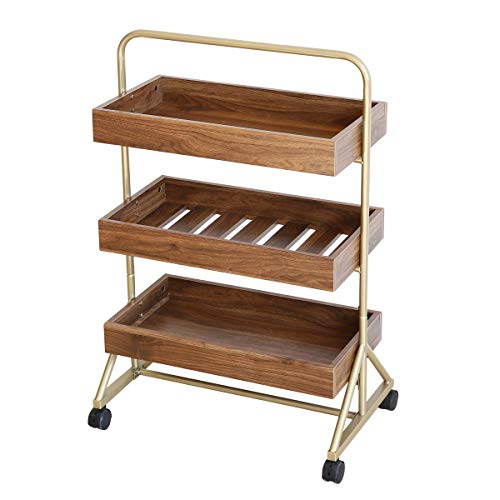 Roomfitters 3 Tier Rolling Bar Cart and Serving Cart, Kitchen Bar on wheels, Walnut and Gold Finish
