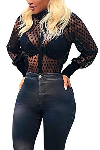 T Mesh Chemisier Shirts Sheer Noir Ouvert Chemise Top Femme Polka Blouse Dot q1zz6t