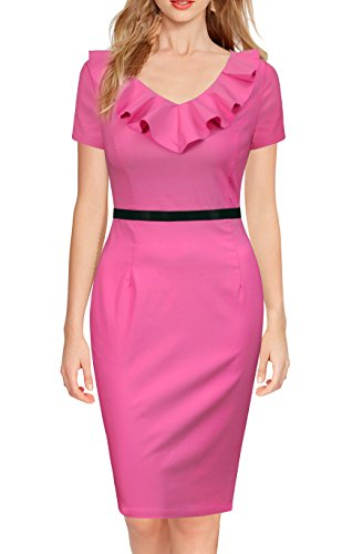 REPHYLLIS Women's Ruffles Short Sleeve Business Cocktail Pencil Dress M Rose by REPHYLLIS