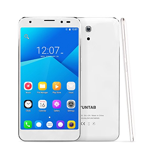 (YUNTAB 5 Inch 4G Unlocked Android Smartphone, Support Dual SIM Cards, 32GB Storage, Quad-core Processor, HD Touch Screen, with Dual Camera WiFi & GPS)