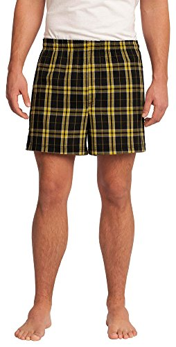 District Young Mens Flannel Plaid Boxer Short, Gold, Small ()
