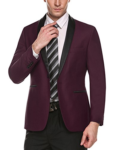 COOFANDY Men's Slim Fit Stylish Casual One-Button Suit Coat Jacket Business Blazers,Wine Red,Medium
