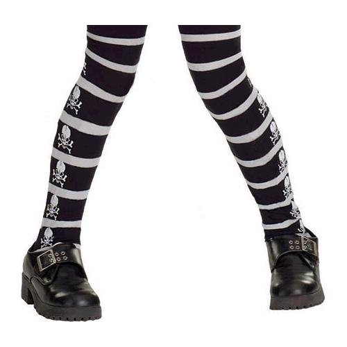 Halloween Accessories ~ Skull And Cross Bone Tights SIZE Fits 40 to 55 lbs (Kids Black And White Striped Tights)