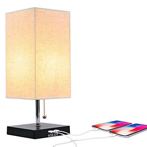 Grace Modern Desk Lamp, USB Table Lamp, Bedside Table & Desk Lamp with Black Wooden Base & Soft Ambient Lighting, Useful 2 USB Charging Ports Perfect for Table in Bedroom Living Room or Office