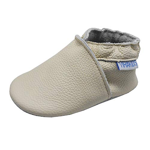 YIHAKIDS Baby Shoes for Boys Girls Infant Toddler Leather Moccasins Soft Sole Baby Slippers Multi-Colors(7-7.5 US /12-18 Mo./5.5in, Beige)