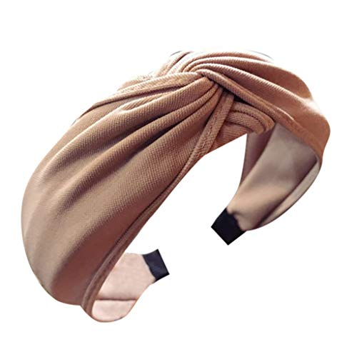 HAPIGOOD Women's Cloth Handmade Cross Knotted Solid Wide-Brimmed Hair Accessories Headband ()
