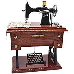 Anlydia Vintage Sewing Machine Design Trinket Music Box Gift For Christmas