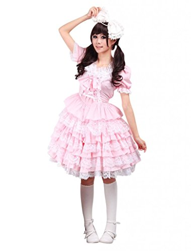 [Hugme Cotton Pink Lace Sweet Lolita Dress] (Custom Cosplay Costumes Sale)