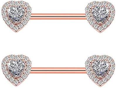 Amazon.com: Nipple Ring & Nose - 1Pair New Clear Heart Nipple Rings Cover Piercing Body Jewelry Nipple Bar Ring Barbell Nipple Pircing Mamilo Sexy Women - Rose gold 2 Heart: Jewelry