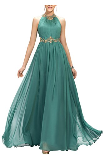 Ellames Beaded Long Chiffon Bridesmaid Dress Jewel Prom Evening Dress Hunter US 8