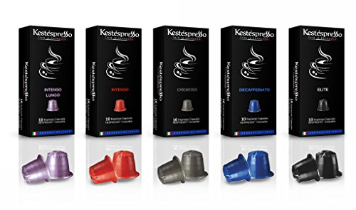 Nespresso Compatible Espresso Coffee Capsules 50 Pods Variety Pack 5 Blends Product of Italy for Original Line Machines