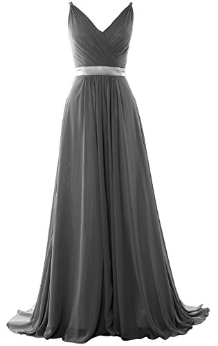 Back Grau Long V Neck Bridesmaid Formal Open Evening Dress MACloth Gown Mid Women qfwHf7X