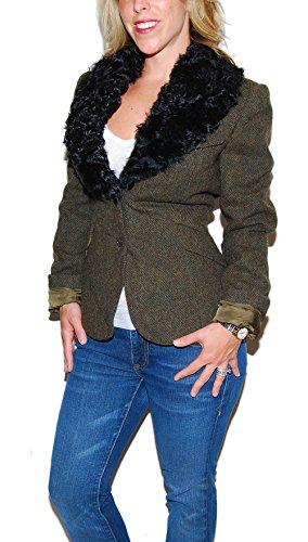 Ralph Lauren Collection Purple Label Wool Shearling Blazer Jacket USA Brown 12 (Fur Silk Trim Lining)
