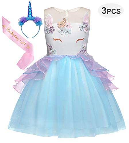(Cotrio Girls Unicorn Costume Dress Pageant Party Dresses Flower Evening Gowns Tutu Dress 3-Pieces Halloween Outfit with Headband and Sash Size 4T (110, 3-4Years,)