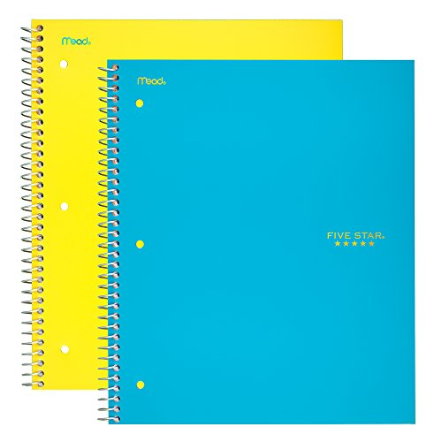 Five Star Spiral Notebooks, 5 Subject, College Ruled Paper, 200 Sheets, 11'' x 8-1/2, Teal, Yellow, 2 Pack (73509) by Five Star