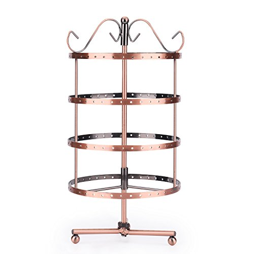 - Flexzion 4 Tiers Earring Holder Jewelry Organizer 92 Pairs - Necklace Rotating Spin Stand Display Bracelet Ring Pendants Tabletop Storage Store Rack Tower with Hook on Top for Women Girl (Copper)