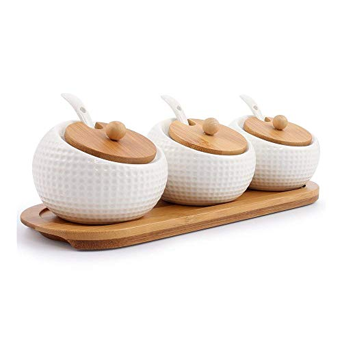 - Jam Display Tray Porcelain Condiment Jar Spice Container with Lids - Bamboo Cap Holder Spot, Ceramic Serving Spoon, Wooden Tray - Best Pottery Cruet Pot for Your Home, Kitchen, Counter. White