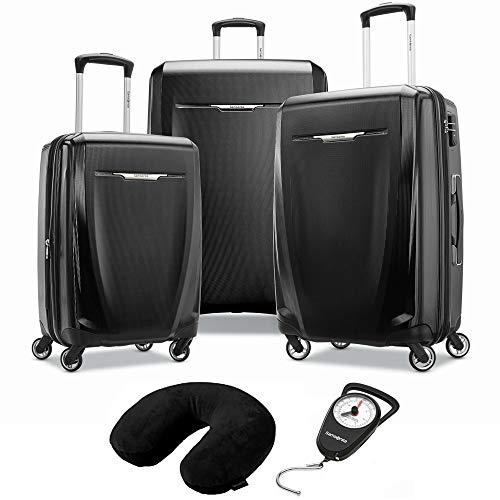 (Samsonite Winfield 3 DLX 3 Piece Set Spinner 20/25/28 Black (120751-1041) Manual Luggage Scale & Microbead Neck Pillow Black)