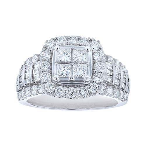 Olivia Paris 14k White Gold 2 Carat (ctw) Baguette Cut Diamond Cocktail Ring (H-I, SI2-I1)