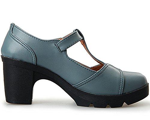 Platform Toe Square Heel DADAWEN Strap Shoes Classic Dress Women's Gray Light T Mid Oxfords buckle qn148