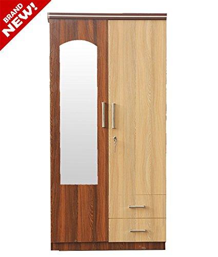 Furnish Wooden Delux Two Door Wardrobe with Mirror