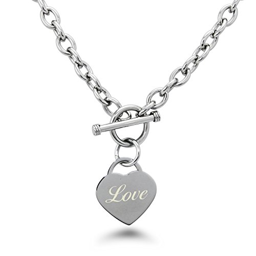 (Stainless Steel Engraved Love Heart Tag Charm Necklace)