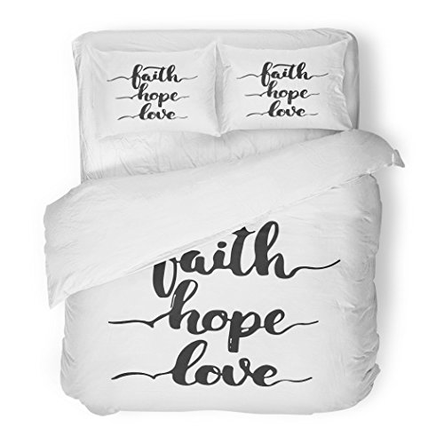 SanChic Duvet Cover Set Church Lettering Phrase Faith Hope Love the White Fun Calligraphy for Greeting Prayer Decorative Bedding Set with 2 Pillow Shams Full/Queen Size by SanChic