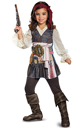 Disney POTC5 Captain Jack Sparrow Girl Classic Costume,  Multicolor,  Small (4-6X) (Pirate Costumes Belt)