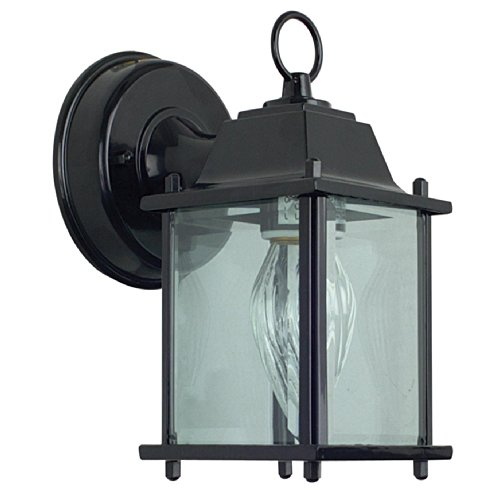 Sunset Lighting F7802-31 Outdoor Wall Sconce with Clear Glass, Black Finish