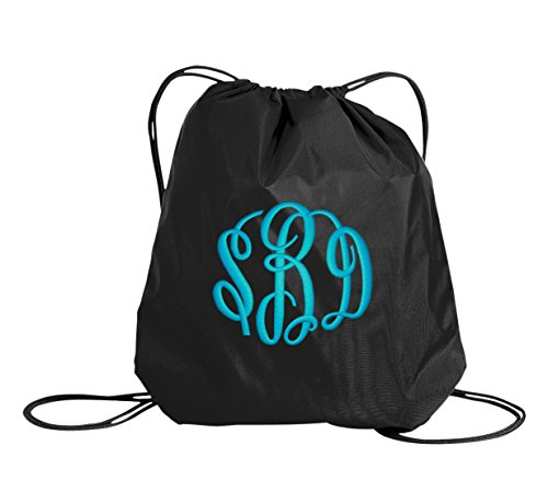 All about me company Colorblock Cinch Bag | Personalized Monogram/Name Sackpack Bag (Black)]()