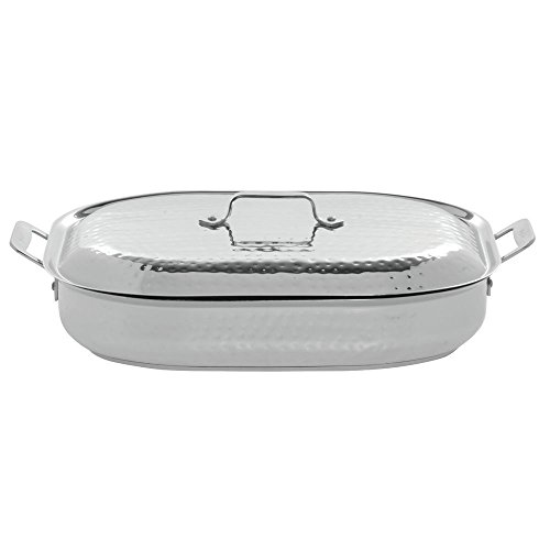 Bon Chef 60023CLDHF Stainless Steel Induction Bottom Cucina Oblong Pan with Lid, Hammered Finish, 7 quart Capacity, 15 inch Length x 11 inch Width x 3 inch Height