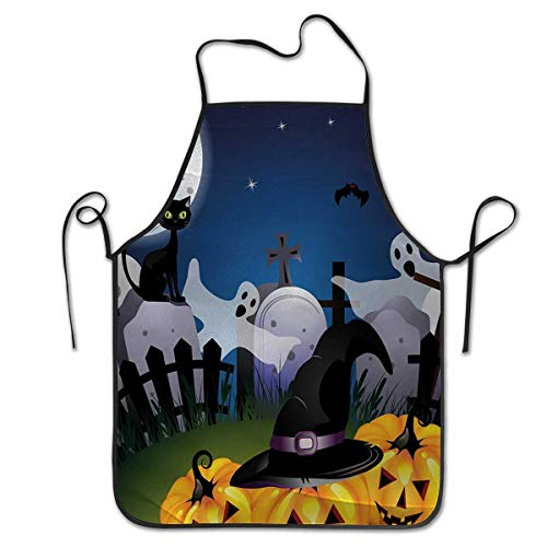 Unisex Kitchen Bib Cooking Apron Halloween Funny Cartoon Design with Pumpkins Witches Hat Ghosts Graveyard Full Moon CatProfessional barbecue, baking, men's cooking women -
