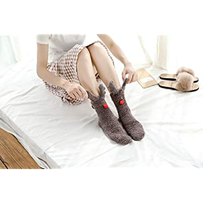 Biruil Fuzzy Socks Over Knee High Cute Cartoon Animal Winter Leg Warmers Stockings For Women Girls (A Coffee): Clothing