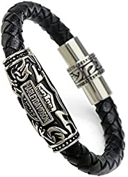TELAM Harley Christmas tide titanium steel bracelet personalized fashion design made of pure leather woven bra