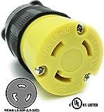 Journeyman-Pro 2613 30 Amp, 125 Volt, NEMA L5-30R, 2P, 3W, Locking Female Plug Connector, Black Industrial Grade, Grounding 3750 Watts Generator Rating (L5-30R Female Plug)