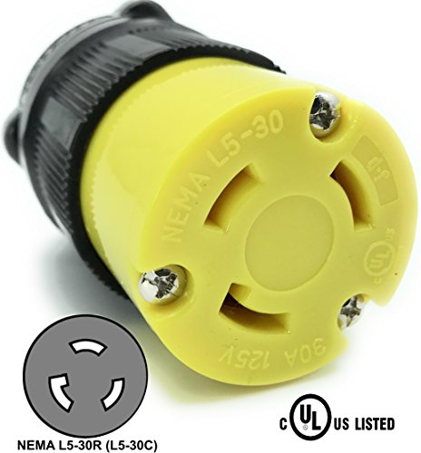 Journeyman-Pro 2613 30 Amp, 125 Volt, NEMA L5-30R, 2P, 3W, Locking Female Plug Connector, Black Industrial Grade, Grounding 3750 Watts Generator Rating (L5-30R Female Plug) -