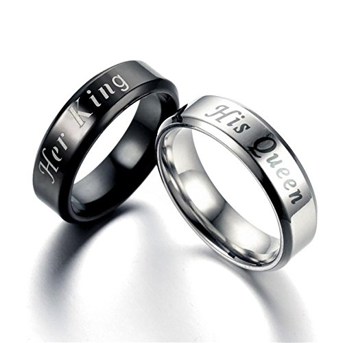Amazon.com: JEWH King Queen Rings - Stainless Steel Couples Lovers Rings for Men Women - Romantic Wedding Engagement Fashion Jewelry - Romantic Gift for ...