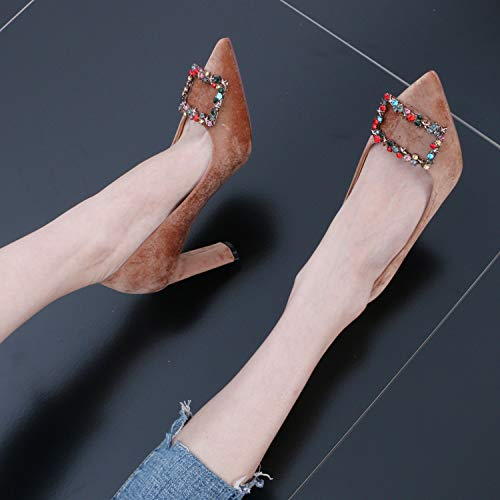 And women's Summer Bow Rough Thick Simple Fashionable shoes Khaki Fashion Diamond Shoes 9Cm Diamond Sexy And Pointed Heels GTVERNH High 5A0qw8