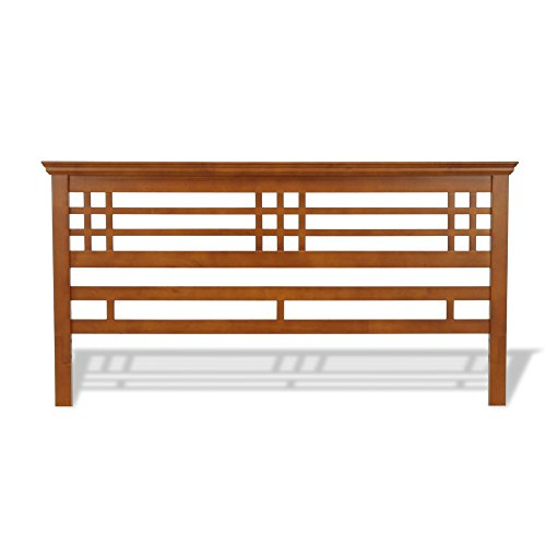 Avery Complete Bed with Wood Frame and Mission Style Design, Oak Finish, King