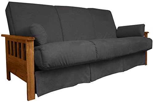 Wood Arm Futon (Berkeley Perfect Sit & Sleep Pocketed Coil Inner Spring Pillow Top Sofa Sleeper Bed, Queen-size, Medium Oak Arm Finish, Microfiber Suede Slate Grey Upholstery)