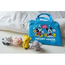 Iwako Zoo Animals - Cow, Pig, Giraffe and Elephant Japanese Erasers with Blue Zipper Bag