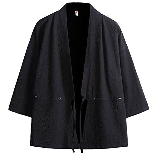 INVACHI Fashion Men's Cotton Blends Linen Cloak Open Front Cardigan Kimono - Blend Shirt Jacket Linen