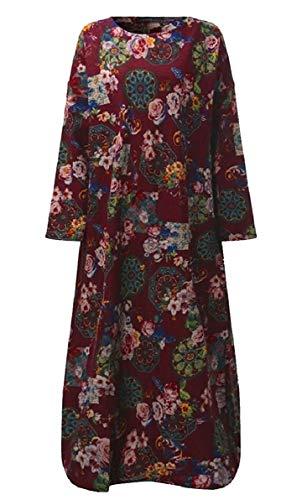 Sleeve Maxi Red QianQian AU Loose Linen Long Printed Long Cotton Wine Dress Women Vintage rOvfdwBO0q