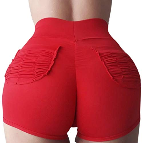 JOFOW Womens Sports Shorts Solid Basic Ruched Butt Pleated Back Pockets Leggings Stretch Running Workout Gym Mini Pants - Ruched Bodice Beaded
