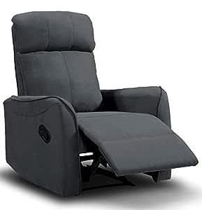 SuenosZzz Sillón Relax Repaldo y Reposapiés reclinables Charles. Tapizado Tela Jade Gris Marengo.