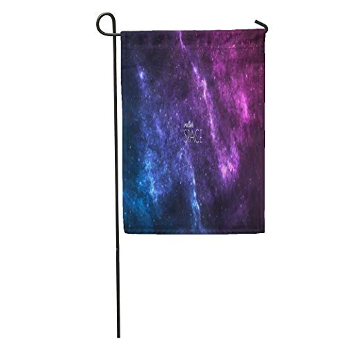 Semtomn Garden Flag Blue Cosmic Galaxy Nebula Stardust and Bright Shining Stars Artworks Home Yard House Decor Barnner Outdoor Stand 12x18 Inches Flag ()