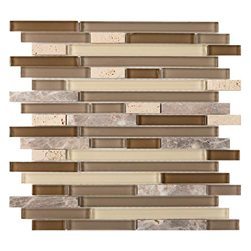 Glass and Stone Mosaic Tile, ACL 1001, Mixed Strips, 12