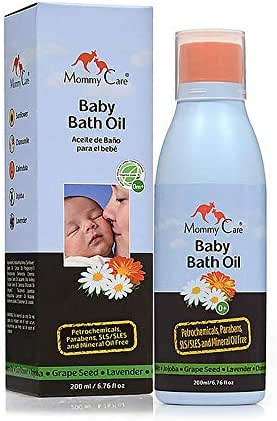 Mommy Care Organic Baby Bath Oil Pure Natural Eco Essential Oils, Calming, Hydrating, and Nourishing Bathing Oil to Restore Your Baby's Natural Skin Moisture. Great for Irritated or Dry Skin. 6.76 oz